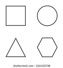 Basic geometric shapes icon set. Vector illustration, flat design.