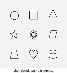 Basic Geometric Shapes Vector Icon Set.- Vector