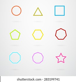 Basic Geometric Shapes Vector Icon Set In Retro Colors