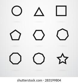 Basic Geometric Shapes Vector Icon Set