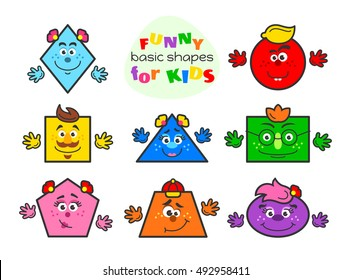 Basic geometric shapes vector illustration for kids. Funny cartoon shapes characters for preschool or primary school children with main colors blue, green, yellow, pink, orange, violet, red, dark-blue
