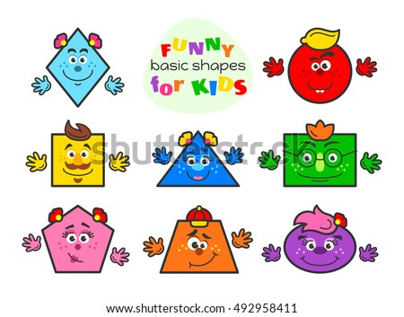f0c3e8e8fa8 Basic geometric shapes vector illustration for kids. Funny cartoon shapes  characters for preschool or primary school children with main colors blue