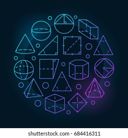 Basic geometry colorful illustration - vector round outline sign made with different trigonometric and geometric shapes on dark background