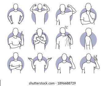 Basic human actions and body languages. Vector illustration of a man with various poses.