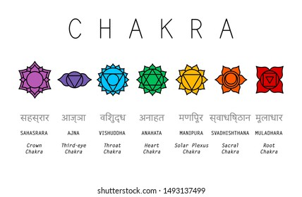 Basic human chakra system. 7 chakras. Set of seven chakra symbols of human body. Root, Navel, Solar plexus, Heart, Throat, Third eye, Crown
