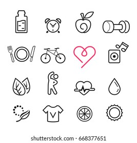 Basic icon exercise set. Modern lifestyle thin design. Maintaining quality of life.