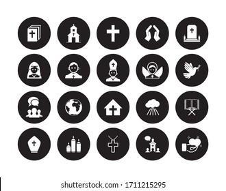Basic icons of the Catholic religion. Catholic people and objects icons.