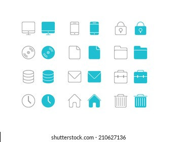 Basic Icons set for in flat and line style