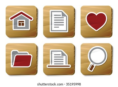 Basic icons. Vector icon set. Three color icons on cardboard tags.