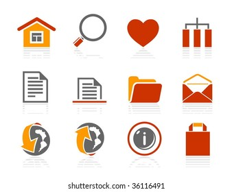 Basic and Internet icons. Vector icon set. Three color icons.