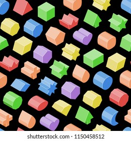 Basic isometric color figure set vector isolated geometric 3d shapes seamless background.