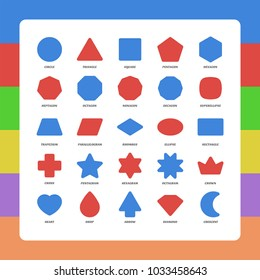 Basic kids rounded corners flat figures school collection. Vector set geometric safe shapes. Triangle, square, pentagon, octagon, trapezium, rhombus, ellipse, heart, diamond, star, polygon, moon, plus