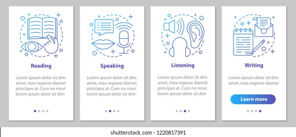 Basic language skills onboarding mobile app page screen with linear concepts. Reading, writing, speaking, listening steps graphic instructions. UX, UI, GUI vector template with illustrations