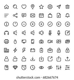 Basic Line Icon Set for Web and Mobile ui