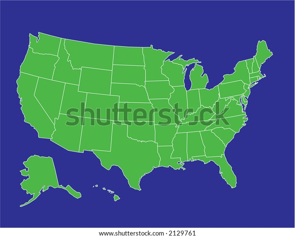 Basic Map United States America Green Stock Vector Royalty Free - Basic-map-of-us