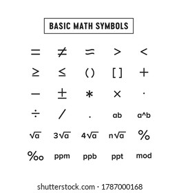 Basic Math Symbols Template Print Out Vector Illustration Background