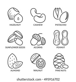 basic nuts thin line icons set. isolated. black color
