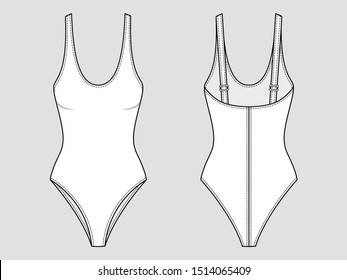 Basic one-piece swimsuit with a plunging neckline. Mockup template.