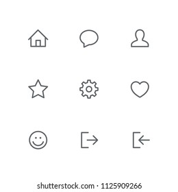 Basic outline icon set - home, chat, person, star, gear wheel, heart, smile face, login and logout symbols. Internet, website and social network vector signs.