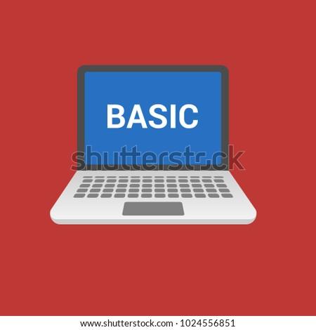 BASIC Programming Language Laptop Flat Design Stock Vector