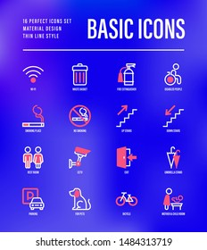 Basic public signs: wi-fi, waste basket, disabled people, fire extinguisher, smoking place, down stairs, up stairs, parking, mother and child room, bicycle. Thin line icons. Vector illustration.