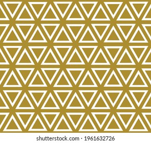 Basic repeating hexagon pattern with triangle sements in gold color fill and outline on a white background, geometric vector illustration