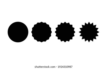 basic round and star shape set for sticker sale in black color isolated on white background. element vector design for label, tag, promo, template, campaign, etc.