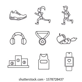 Basic runner icons. Nice sport color icons. Editable vector.