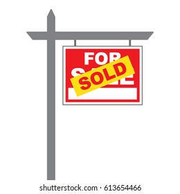 Basic for sale sign with a sold label pasted over sign in vector format.