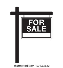 A basic for sale sign in vector format. This icon is typically used by a real-estate agent to advertise a house listing.