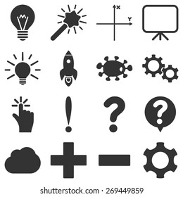 Basic science and knowledge icons. These plain symbols use gray color.