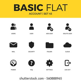 Basic set of account, user and settings icons. Modern flat pictogram collection. Vector material design concept, web symbols and logo concept.