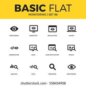 Basic set of application, magnifier and computer icons. Modern flat pictogram collection. Vector material design concept, web symbols and logo concept.