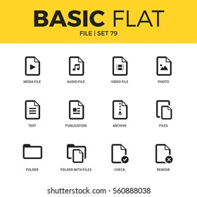 Basic set of archive, audio file form and folder form icons. Modern flat pictogram collection. Vector material design concept, web symbols and logo concept.