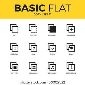 Basic set of copy video form, copy music form and share form icons. Modern flat pictogram collection. Vector material design concept, web symbols and logo concept.