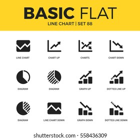 Basic set of diagram, graph down and chart down icons. Modern flat pictogram collection. Vector material design concept, web symbols and logo concept.