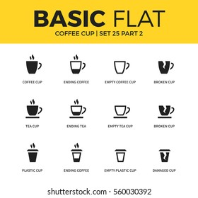 Basic set of empty cup, tea cup and plastic cup icons. Modern flat pictogram collection. Vector material design concept, web symbols and logo concept.