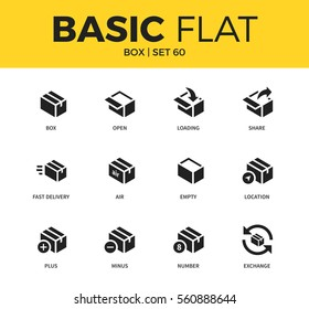 Basic set of fast delivery form, empty box, and location box form icons. Modern flat pictogram collection. Vector material design concept, web symbols and logo concept.