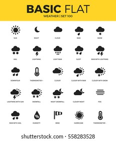 Basic set of hail, night, cloud and lighting icons. Modern flat pictogram collection. Vector material design concept, web symbols and logo concept.