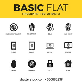 Basic set of laptop scan form, lock form and home scan icons. Modern flat pictogram collection. Vector material design concept, web symbols and logo concept.