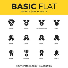 Basic set of medal form, badge form, shield form icons. Modern flat pictogram collection. Vector material design concept, web symbols and logo concept.
