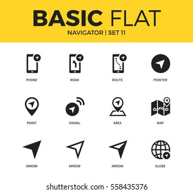 Basic set of route, map and area icons. Modern flat pictogram collection. Vector material design concept, web symbols and logo concept.
