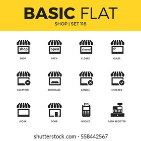 Basic set of showcase, location and invoice icons. Modern flat pictogram collection. Vector material design concept, web symbols and logo concept.