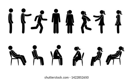 basic set of stick figure man icon, pictogram man and woman in various poses, people stand, sit, go