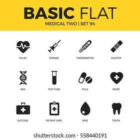 Basic set of syringe, pills and heart icons. Modern flat pictogram collection. Vector material design concept, web symbols and logo concept.