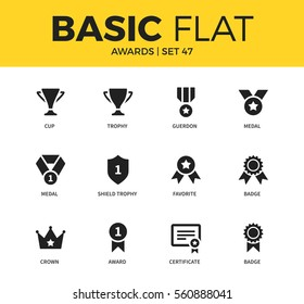 Basic set of trophy, certificate and crown form icons. Modern flat pictogram collection. Vector material design concept, web symbols and logo concept.