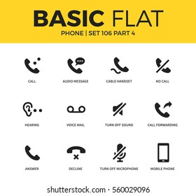 Basic set of voice mail, no call and cable handset icons. Modern flat pictogram collection. Vector material design concept, web symbols and logo concept.
