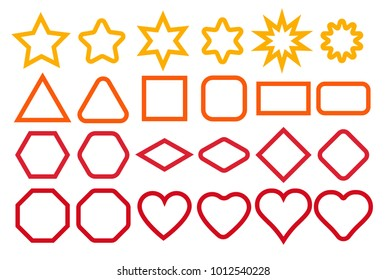 Basic shape elements with sharp and rounded edges outline vector set.Contour illustration.
