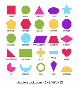 Basic shapes geometric form collection for primary school or preschool. Colored kids geometry figures for learning, children education, educational set on white background.
