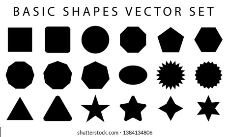 basic shapes vector set. geometrical collection. circle, rectangle, square, ellipse, hexagon, octagon, star, triangle on white background.